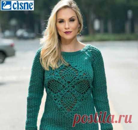 Blusa de Tricô Verde com Centro de Crochê - Fio Cisne Citro - Blog do Bazar 29bb92eaeac
