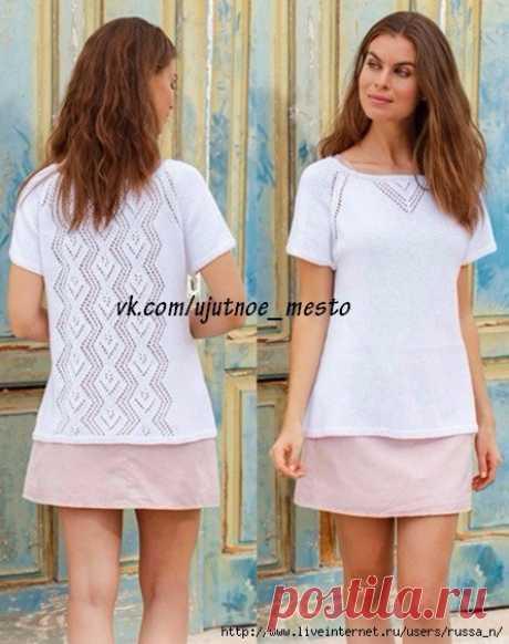 "Топ спицами ""Diamonds"" in Lace by DROPS Design"
