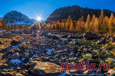 Хотя на дворе уже и не осень, не можем не поделиться этой яркой и солнечной фотографией от Натальи Судец. Долина у ледника Актру, Республика Алтай. Другие фото Натальи можно посмотреть на ее странице: nat-geo.ru/community/user/206728/