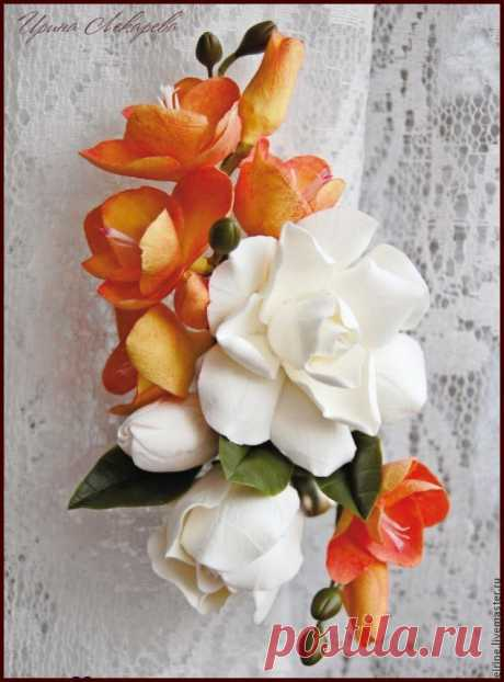 Мастерим цветочный зажим для штор из полимерной глины - Ярмарка Мастеров - ручная работа, handmade