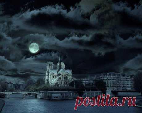 Собор Парижской Богоматери ночью, Париж, Франция.