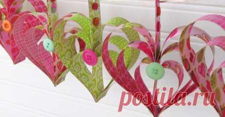 Как сделать гирлянду из бумажных сердечек — I Love Hobby — Лучшие мастер-классы со всего мира!