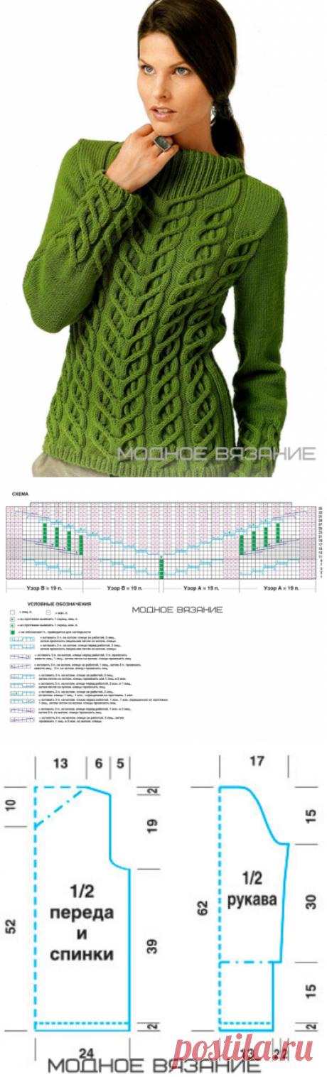 Пуловер оригинальными рельефными жгутами - Modnoe Vyazanie ru.com