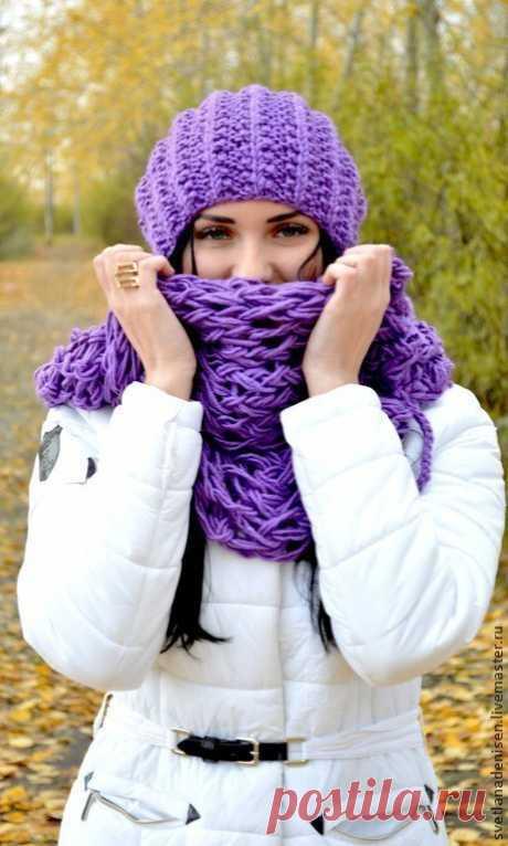 Купить Комплект Лавандовое настроение! - снуд, шарф, снуд вязаный, снуд женский