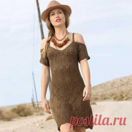 Коричневое летнее платье - схема вязания спицами. Вяжем Платья на Verena.ru