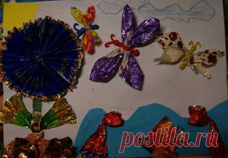 Изготовление поделок из фантиков от конфет: фото пошагово | Своими руками