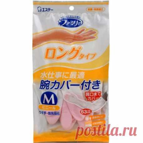 """ST """"Family"""" Виниловые перчатки - удлинённые, тонкие, с уплотнением на кончиках пальцев, бело-розовые, размер М, 1 пара."""