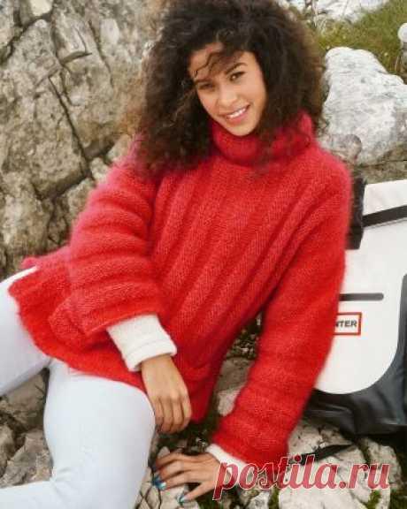 Красный мохеровый свитер - схема вязания спицами. Вяжем Свитеры на Verena.ru
