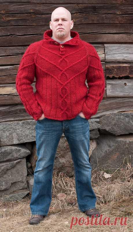 Мужской пуловер спицами Armas.