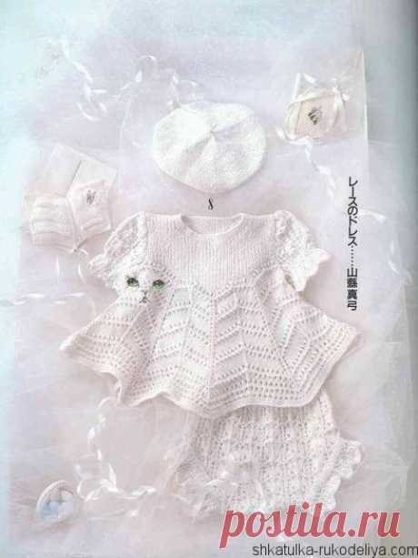 Белое платье спицами Белое платье спицами для девочки на крестины. Вязание спицами для новорожденных