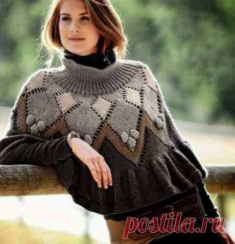 Пончо или юбка ? По настроению ! :) / Вязание спицами / Вязание для женщин спицами. Схемы вязания спицами