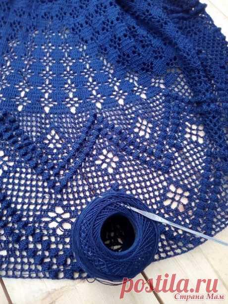 Юбка крючком .Автор azarnet Пряжа YarnArt Violet 100% мерсеризованный хлопок 50г/ 282м. ушло 400г, крючок №0,95, широкая темно синяя резинка 75см.