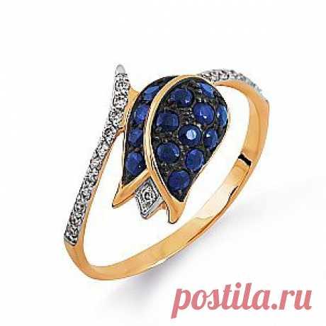 Изящные и благородные линии этого кольца впечатляют. Украшение в виде тюльпана выполнено из  сапфиров и 20 бриллиантов. Шикарно! Купить со скидкой 50% за 11 200 руб