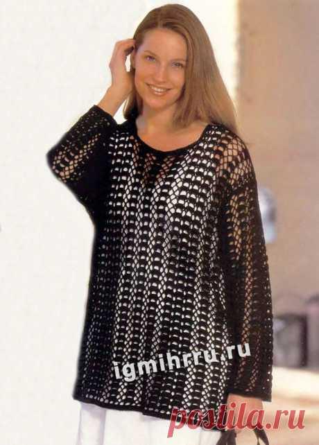 Черный пуловер с ажурным узором. Вязание крючком со схемами и описанием