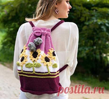 Рюкзак с подсолнухами - схема вязания крючком. Вяжем Сумки на Verena.ru