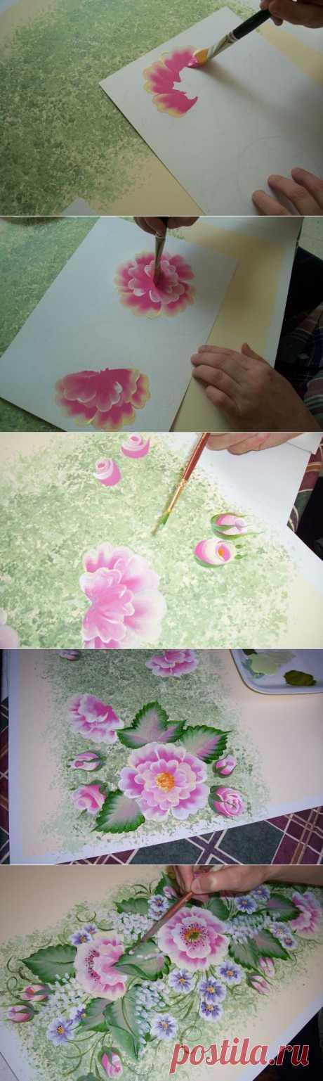 Декоративная роспись-Красивые цветы !!!!.