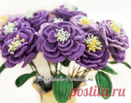 """Japanese rose hook.\u000d\u000aSchemes of knitting of decorative flowers of handwork from a thin yarn \""""iris\"""". Dear lovers of knitted flowers and bouquets for gifts and decoration of an interior of any room! I suggest you to connect very beautiful flowers similar to Eustoma krupnotsvetkovy (other name — Liziantus Russell), from family gorechavkovy, is from Central America. New grades of these flowers are brought from Japan and most often are called \""""the Japanese rose\"""".\u000d\u000a\u000d\u000aSchemes of knitting\u000d\u000aThe Japanese..."""