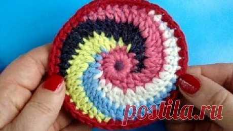 Вязание крючком Урок 246 Круг спираль Spiral crochet circle motif