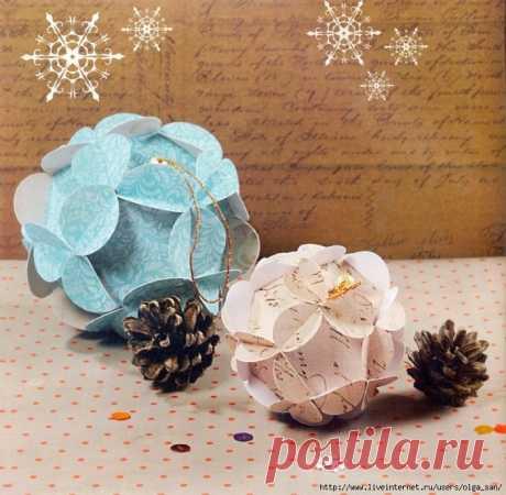 Новогодние шары из бумаги. Автор Екатерина Ленардене.
