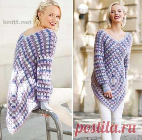 Удлиненный пуловер из квадратов крючком