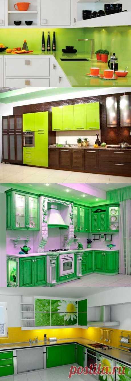 Дизайн кухни в салатовых тонах