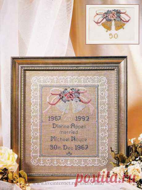 Вышивка крестом, схемы Метрики свадебные в ажурной рамке