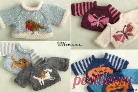 Вязание спицами свитеров для кукол. Схемы вязания.
