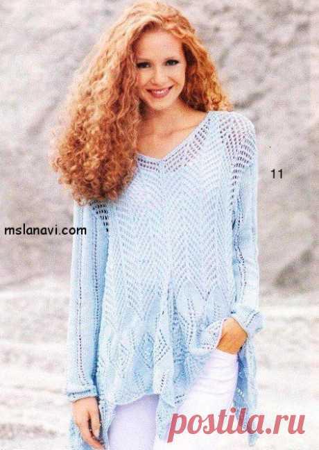 Голубой ажурный пуловер - Вяжем с Лана Ви Голубой ажурный пуловер для теплого лета. Необычайно стильная модель воздушного пуловера, с оригинальными острыми краями. Красиво и современно смотрится с белыми брюками. Желаю всем легких петелек :)! Ажурный пуловер с заострениями. Размеры: 38/40, (44/46), 50/52 Необходимо: 500, (500), 550 г голубой пряжи Novela (50% хлопка, 50% полиакрила, 125 м / 50 г) круговые спицы №4,5 […]