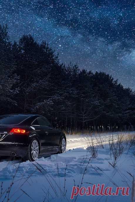 Скачать обои ночь, снег, лес, зима, ауди разрешение 640x960 #159100