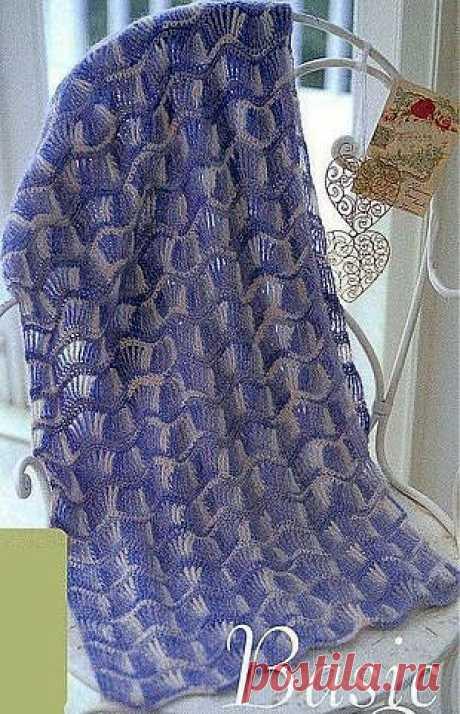 Ажурный двухцветный шарф | Рукоделие и вязание