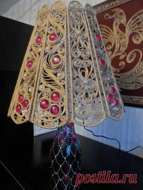 Необычный абажур из джута от Веры Пушкиной