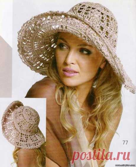 Летняя вязаная шляпа для пляжа
