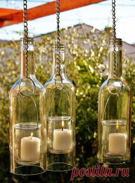 Декор из пустых стеклянных бутылок: идеи — Сделай сам, идеи для творчества - DIY Ideas