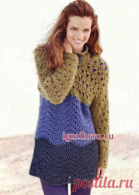 Теплый удлиненный пуловер в модной гамме трех цветовых оттенков. Вязание спицами