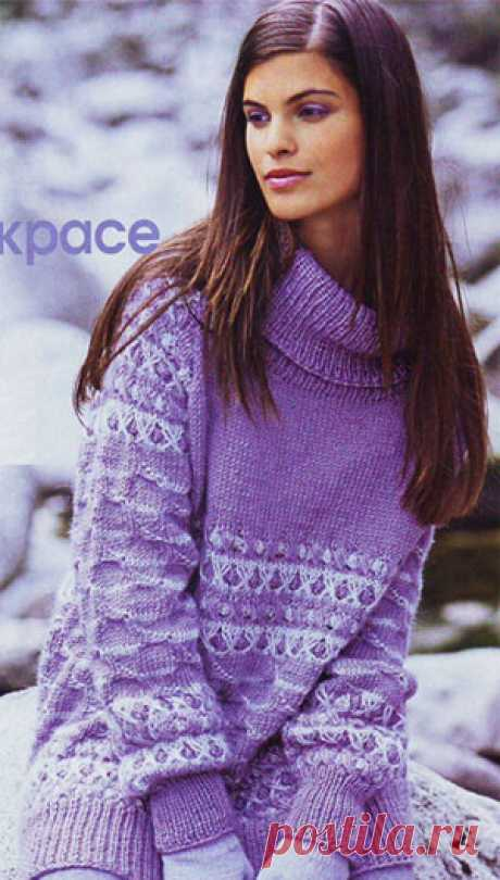 Пуловер с рукавами реглан и узором со снятыми петлями