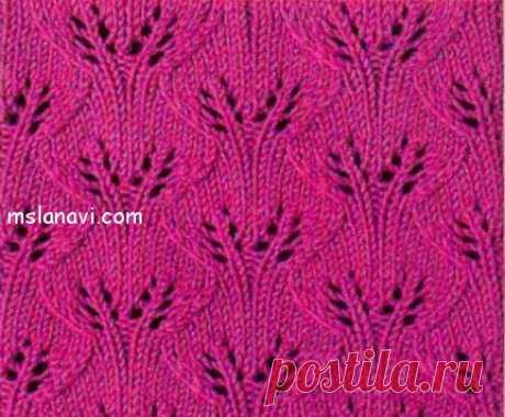Ажурные листики спицами №54   Вяжем с Лана Ви