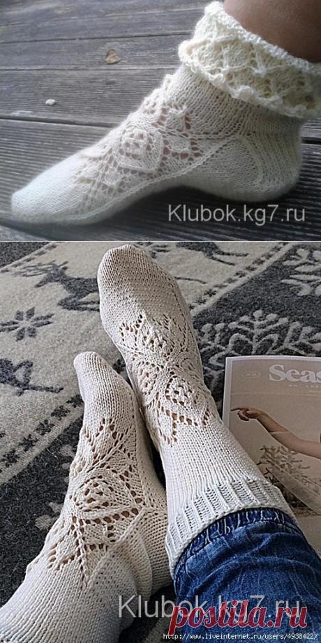 Ажурные носки спицами с узором от центра (Вязание спицами) – Журнал Вдохновение Рукодельницы