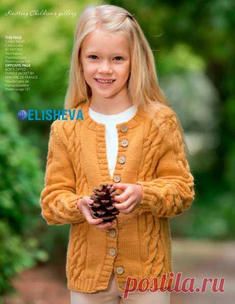 Кардиган для девочки с аранскими косами от Patons, вязаный спицами | Блог elisheva.ru