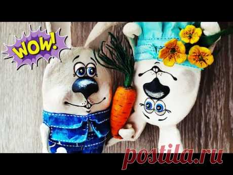 Декоративные кролики из втулок от туалетной бумаги. Зайцы папье-маше с морковкой 🥕 и цветами 🌻 - YouTube