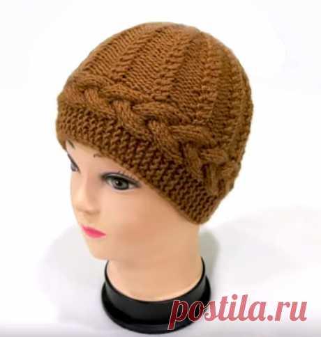 Не сложная ,но интересная шапочка с горизонтальной косой (Вязание спицами) – Журнал Вдохновение Рукодельницы