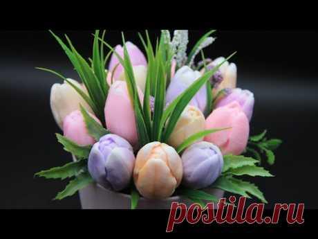 Букет из тюльпанов в кашпо | Собираем мыльный букет | Мастер-класс по мыловарению | 3D цветы