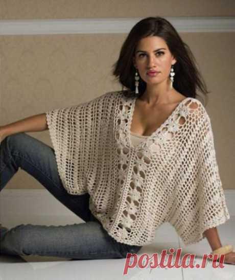 Пуловер крючком простой в исполнении