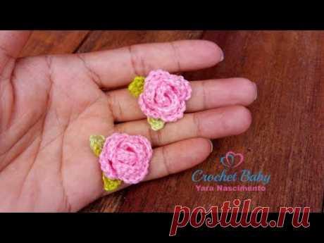 Mini Rosa de Crochê - Crochet Baby Yara Nascimento