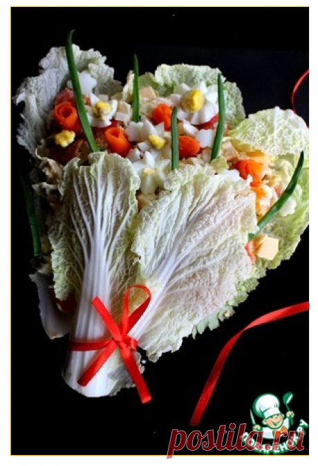 Оформление салата на 8 Марта - кулинарный рецепт