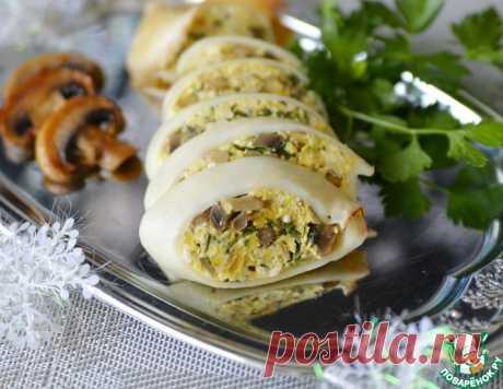 Кальмары, фаршированные омлетом с шампиньонами – кулинарный рецепт