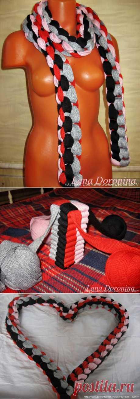 Плетем цепи, сотворяем шарфик. Предлагаю освежить свой гардероб новым аксессуаром!