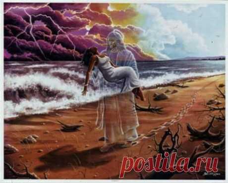 Մի աղջկա երազում Աստված ասաց Կուզե՞ս ես քեզ կյանքդ ցույց տամ Իհարկե',ուզում եմ Ու այդ ժամանակ Աստված նրան վեր բարձրացրեց,որ նա տեսնի իր կյանքը.աղջնակը զույգ ոտնահետքեր է տեսնում իրար կողքի քայլող -Իսկ ո՞վ է ինձ հետ -Ես եմ,ես ուղեկցում եմ քեզ քո կյանքի ընթացքում,_ պատասխանեց Աստված Բայց ինչու՞ է որոշ տեղերում միայն 1 մարդու ոտնահետք Քո կյանքի դժվար պահերն են դրանք եղել Եվ ի՞նչ.դու ինձ մենա՞կ ես թողել.բայց ինչպե՞ս կարող էիր Ո'չ,դրանք ԻՄ ոտնահետքերն են.այդ պահերին քեզ ձեռքերիս վրա եմ պահել