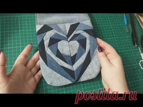изделие из мелких обрезков джинсов. часть 2 #diy#patchwork#лоскутноешитье