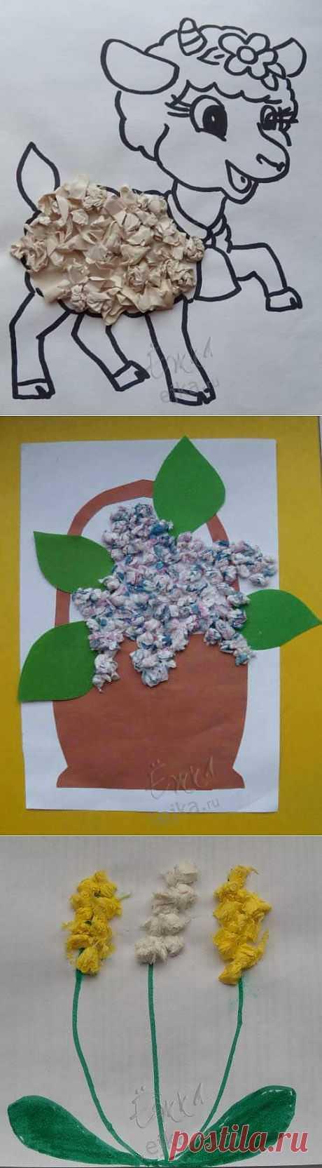 Идеи для детского творчества - нетрадиционная техника - объемные аппликации из цветной бумаги, из салфеток, крупы, стружек, ваты / Детское творчество в детском саду: аппликации и поделки из цветной бумаги, картона для детей / Ёжка - стихи, загадки, творчество и уроки рисования для детей