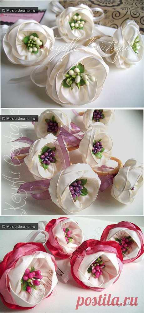 Очень красивые цветы из ленты